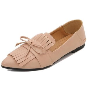 Spring summer wear tassel Women's flat shoes large comfortable shoes female candy color Casual pointed Loafers zy275