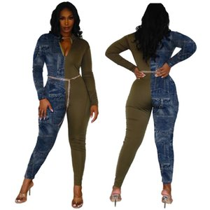 Casual Color Patchwork Jeans Women Jumpsuit Bodysuit Women With Pocket Skinny Long Romper Jumpsuit Overalls