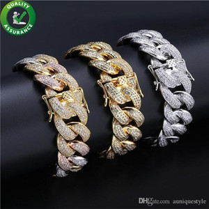 Hip Hop Mens Bracelets Luxury Designer Jewelry Diamond Tennis Bracelet Pandora Style Iced Out Gold Cuban Link Chain Love Charm Bangles 18MM