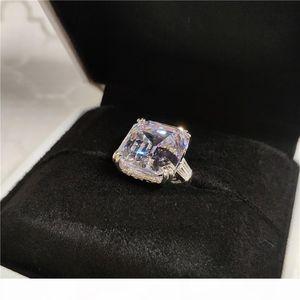 K Dove Egg Big White Topaz Cz Diamond Luxury Jewelry 925 Sterling Silver Astie Type Promise Eternity Women Wedding Party Band Ring Gift