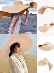 2020 New Fashion Large Sun Hat Beach Anti-UV Sun Protection Foldable Straw Cap Cover Travel Beach Sea side Hat Cap Dropshipping F1208
