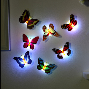 LED Light Night Atmosphere Lamp with Colorful Changing Butterfly Indoor Light Suction Pad Home Party Desk Wall Decor Sticker