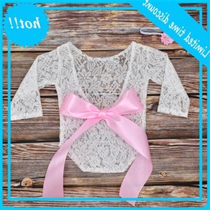 Newborn Edge Boog Backless Jumpsuit Photo Clothing Effen Color Edge Hair band Set Baby Girl Photography Props New