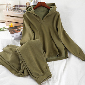 Casual sports suit 2020 hooded loose knitted sweater jacket show thin wide-legged pants two-piece set girl