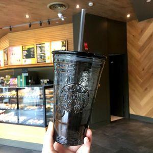 Hot Summer Starbucks Black Glass straw cup 16oz Relief Mermaid logo heat insulation Glass Coffee mug 18oz Ice cup for cola fruit juice