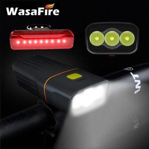 WataAfire водонепроницаемый велосипедная фара 3 режима USB аккумуляторная 5200 мАч велосипедный свет + задний задний фонарь 15000lum 3 * l2 светодиод
