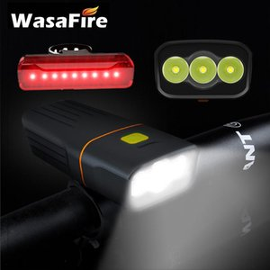 Wasafire a prueba de agua Faro de la bicicleta 3 modos USB recargable 5200mAh Bicicleta Light + Trasero trasero 15000lum 3 * L2 LED