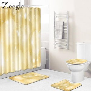 Zeegle 4pcs Bath Mat Set Flannel Soft Toilet Cover Seat Mat Absorbent Toilet Pedestal Rug Foot Waterproof Shower Curtain