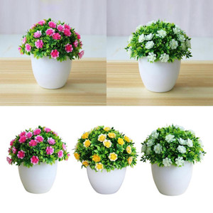 Outdoor Faux Fake Artificial Flower Plants Decorative With Pot Garden Decor