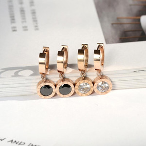 YUN RUO Simple & Fashion Roman Number Black Crystal Stud Earring Woman Rose Gold Titanium Steel Jewelry Birthday Gift Never Fade