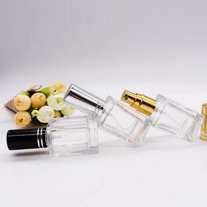10ML Perfume Atomizer Square Glass Fragrance Parfum Bottle Empty Vial Cosmetic Refillable Perfume Bottle Wholeasle SEA SHIPPING BEE3125