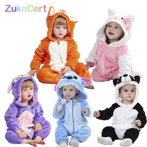 ZUKOCERT ROPA BEBE Hayvan Kapüşonlu Bebek Romper Erkek Kızlar Için Yeni Doğan Bebek Kostüm Bebek Çocuk Giysileri Toddler Stitch Tulum 201026