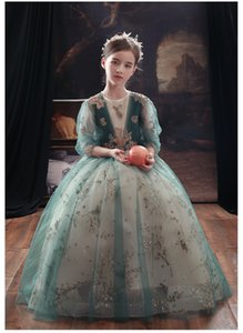 In 2020, the new blue long sleeve waist dress is simple, good-looking, fashionable and hand-made flowered bouffant dress for girls' piano pe
