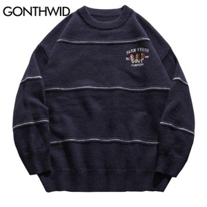 GONTHWID Harajuku Emroidery Dogs Knitted Stripe Sweaters Jumpers Streetwear Hip Hop Fashion Casual Pullover Knitwear Tops 201123