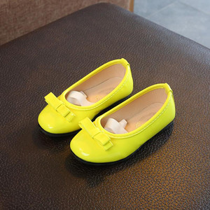 Children Kids White Black Princess Patent Leather Shoes For Baby Girls Bow-knot Slip-On Wedding Party Shoes Fluorescent Yellow