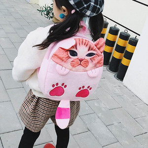 Cute Solid Faux Fur Backpack Cartoon Cat Winter Soft Womens Big Plush Backpack Pink Black White Jan11