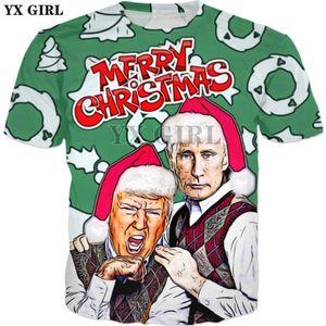 camisa YX Menina do Natal t Nova camisa do estilo verão Moda t engraçado Trump e Putin impressão 3D t-shirt ocasional das mulheres dos homens 1116