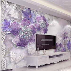 Custom 3D Stereoscopic Purple Flowers Bedroom Wallpaper Designs TV Backdrop Wall Mural Modern Home Decor Wall Paper