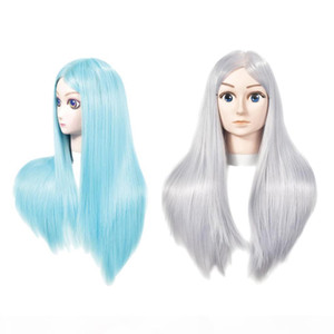 2x Female Mannequin Head Training Head Dummy Model with Long Straight Hair for Salon Barber