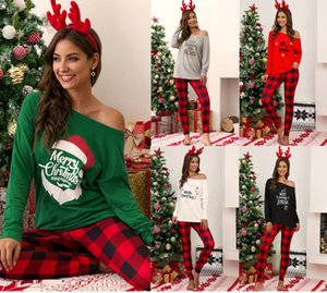 Christmas Plaid casual Pajama Set New Women's Letter Print Long Sleeve T-Shirt Top Pants Home Nightwear Two Piece Sets