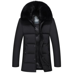 jacket men's middle and long detachable fox fur collar business thick warm coat for middle-aged and elderly in winter Y1120