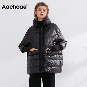 Aachoae Katı Gevşek Beyaz Ördek Aşağı Ceket Kadın Örgü Patchwork Chic Palto Lady Batwing Kollu Sıcak Kirpi Ceket Doutoune