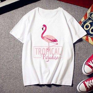 المرأة الصيف المرأة تي شيرت المرأة المتناثرة الطباعة flamingo عارضة الأزياء شيرت س الرقبة الأبيض قمم الإناث القماش قصير الأكمام القمصان