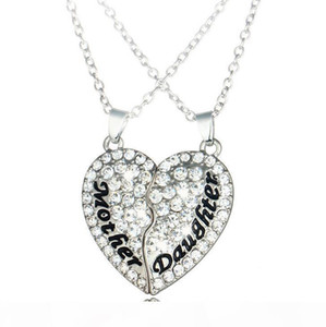 K New Mother Daughter Peach Heart Diamond Stitching Pendant Necklace Mother &#039 ;S Day Gift Wfn012 (With Chain )Mix Order 20 Sets 1se