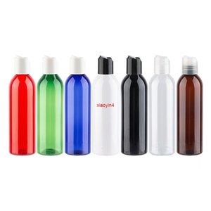250ml marrom redondo garrafa de plástico com tampa superior de disco, 250cc maquiagem sub-engarrafar toner / loção embalagem bottlegood pacote