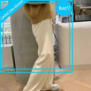 Self made winter thickened Plush cream slim loose wide leg high waist casual pants