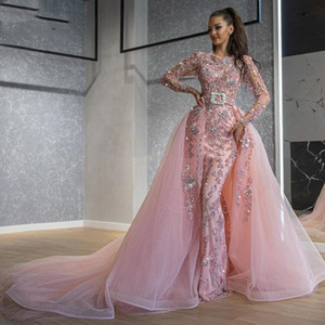 Sparkly Beading Mermaid Prom Dresses with Detachable Train Arabic Dubai Luxury Long Sleeves Evening Dress 2021 Pink Formal Gowns
