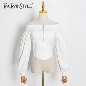 TWOTWINSTYLE White Tunic Short Tops For Women Slash Neck Puff Long Sleeve Solid Shirt Female Fashion New Clothing 2020 Autumn