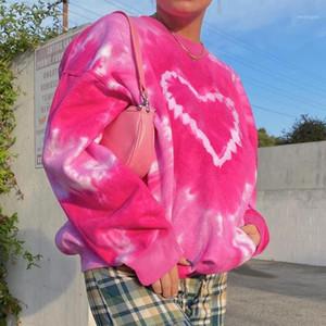 Heart Pattern Y2K Aesthetics Pink Oversized Sweatshirts Women 2021 E-Girl Tie Dye Crewneck Long Sleeve Tops Autumn Pullovers1