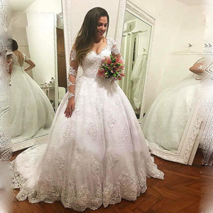 2021 Lace Appliques Wedding Dresses V-neck Long Sleeves Tulle Ball Gown Sweep Train Formal Bridal Gowns Plus Size Vestido De Noiva