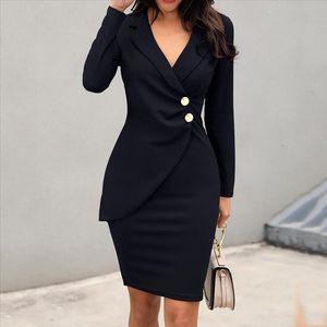 Bohemian dress Women Solid Turn Down Neck Long Sleeve Buttons Bodycon Casaul Work Formal Dress dress plus size vestido mujer H
