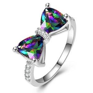 Swarovski Solitaire Ring Diamond Solitaire Обручальное кольцо Горный Горный Хрусталь Бабочка Мода Ср Средство Кольцо настроения Набор для Женщины