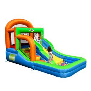 Jardim Suprimento Aflumper Jumper Jumper Salto Casa de salto na corrediça com ventilador Bouncy Castelo Indoor Jardim Festa Divertido Para Crianças Bola Pool Backyard Família Uso