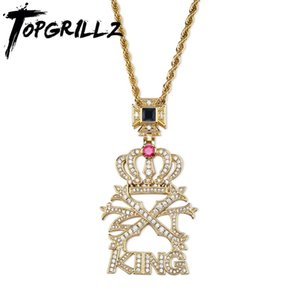 TOPGRILLZ New Iced Out CZ stone Crown KING Letters Pendant &Necklace Micro Paved Bling Charm Chains Hip Hop Jewelry