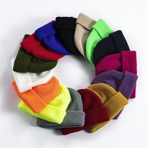 Solid Unisex Beanie Autumn Winter Wool Blends Soft Warm Knitted Cap Men Women Hats