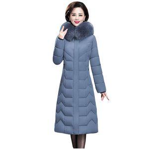 Long Slim Fur Hooded Winter Coat Heavy Thick Warm Oversize Cotton Padded Wadded Parkas Outwear Down Jacket 7XL