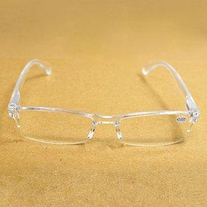 Uomo Donna Trasparente Frameless Resina Lettura Glasses Diotter Presbyopia Spettacoli Gafas de Lectura 1.0 2.0 2.5 3.0 3.5 4.0 016