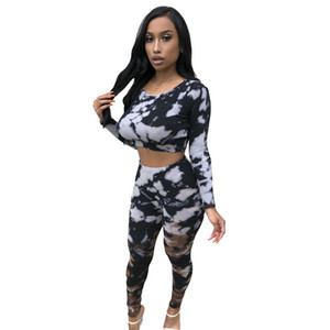 2021 New Tie-dye Print Long Sleeves Women Bodycon Two Pieces Outfits Short T Shirt + High Waist Stretchy Pants Nightclub Party Sets