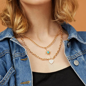 Find Me Rhinestone Heart Lock Pendant Necklace Vintage Multilayer Alloy Necklace for Women 2020 Fashion Jewelry Accessories