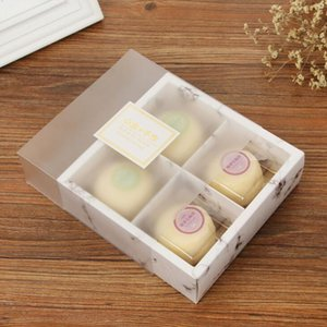 hot sale 100pcs lot Transparent Frosted Cake Box Dessert Macarons Mooncakes Boxes Pastry Packaging Boxes AHE3112