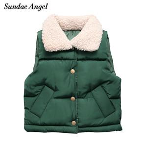 Sundae Angel Thicken Vest Winter Boy Teddy Velvet Collar Warm Girls Waistcoat Kids Solid Gilet Fille Children Vests Clothes 201110