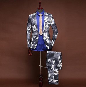 Chinese style printing wedding suits for men blazer boys prom mariage suits mens fashion slim masculino latest coat pant designs