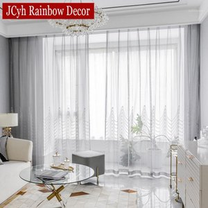 Latest Embroiderey Sheer Curtains for Living Room Door Luxury Bedroom Tulle curtains for Window Treatments Party Voile Drapes1