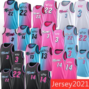 KID Men Dwyane 3 Wade Jimmy 22 Butler Jerseys Tyler 14 Herro Bam 13 Adebayo 55 Robinson 2020-21 PInk Bule White City Basketball Jersey