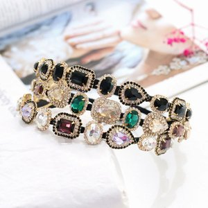 Colorful Baroque Headbands For Women Diamond Hair Accessories Pearl Headband for Girls Crown Flower Hairbands Head Wrap