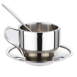 high quality cup saucer and spoon set stainless steel double wall coffee cups ZC0375